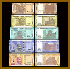 India 10 20 50 100 200 Rupees (5 Pcs Set), 2017-2018 P-109-113 New Gandhi Unc