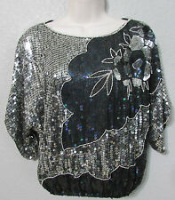 Vtg 80s Sequin Beaded Blouse Short Dolman Sleeve Silk Silver Black Sz XL/XLarge