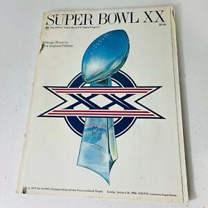 SUPER BOWL XX Game Program 1986 Chicago Bears vs New England Patriots - Poor