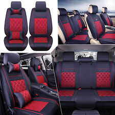 PU Leather&Cooling Mesh Seat Covers Universal 5-Seats Car Front+Rear Free Pillow