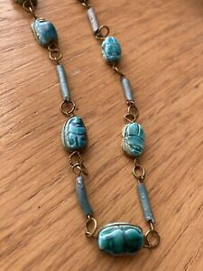 Vintage Egyptian Scarab Beetle Necklace