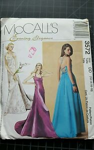 McCalls Evening Elegance Pattern #3572 size DD 12,14,16,18