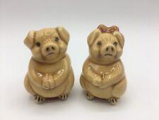 Vintage Ceramic Pig Couple Salt and Pepper Shakers
