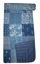 Indian kantha quilt Hand Block Print Patch Work throw Cotton bed cover bedspread