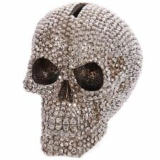 Jewelled Silver Skull Money Box Gothic Novelty Gift Wicca Pagan Brand New