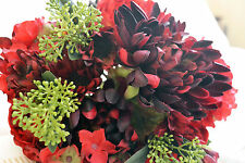 ROSE ,HYDRANGEA, DAHLIA MIXED FLORAL BOUQUET RED, BURGUNDY  GREEN. WEDDING HOME