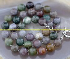 Naturl 10mm Faceted Colorful India RARE Agate Round Stone Necklace  18''