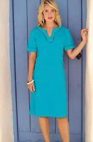 Pomodoro Blue Linen/Cotton Dress Size 12 New Worth £55 Summer Holiday
