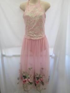 Pink Sequin Flower Applique Long Dress Dance Costume Medium Adult MA