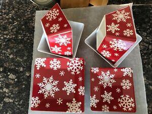 Melamine Snowflake Plates & Bowl Set of 12 Red White Holiday Christmas winter