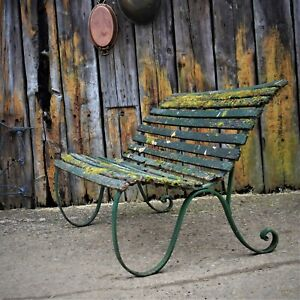 Antique Green Garden Bench Wrought Iron Victorian Weathered Wooden Patina Seat