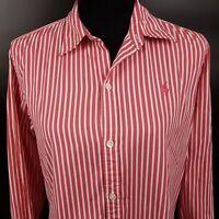Ralph Lauren Womens Shirt Top Size 14 Long Sleeve Pink Regular Striped Cotton