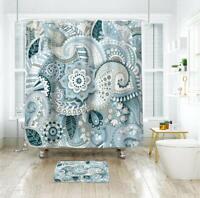 Blue Mandala Floral Boho Shabby Chic Waterproof Fabric Shower Curtain + Hooks