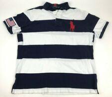 POLO Ralph Lauren Polo Shirt XXL Navy White Stripes embroidered Pony Stitch Flag