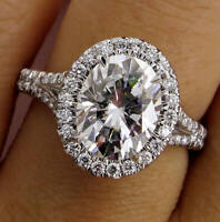 14K SOLID WHITE GOLD OVAL CUT DIAMOND ENGAGEMENT RING HALO STYLE 3.15 CTW VVS1