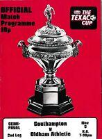 Football Programme>SOUTHAMPTON v OLDHAM ATHLETIC Nov 1974 Texaco Cup SF
