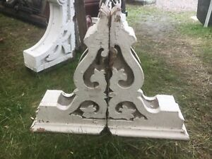 "c1880 pair Victorian corbel brackets roof eave elements 20.5"" x 14"" x 6.5"""