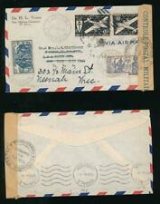 CAMEROON CAMEROUN 1944 MILITARY CENSOR BLUE on BROWN TAPE AIRMAIL + FRANCE LIBRE