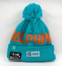New Era Cap Men's NFL Miami Dolphins On Field Winter Knit Bobble Beanie Hat