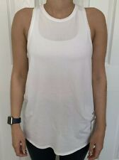 Lululemon Size 6 All Tied Up Tank White WHT Pima Cotton Run Speed Layer Yoga NWT