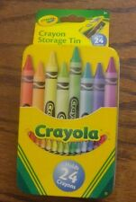 Crayola Crayon Storage Box Tin Container holds 24 crayons hinged lid