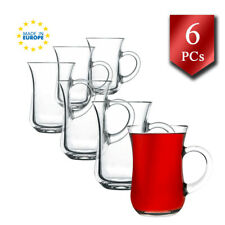 Special Design Turkish Tea Glasses with Handle Set of 6, Clear Tea Coffee Cups