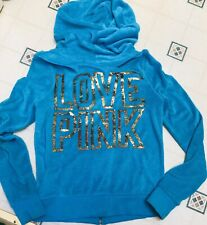 Victoria Secret PINK BLING Blue Terry Cloth Hoodie zip up Gold sequin sz Sm Rare
