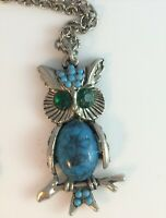 "Vintage Faux Turquoise Owl Pendant Necklace Rhinestones Silver Tone 24"" Chain"