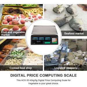 40kg/5g Electronic Digital Price Scales Veg Fruit Commercial Shop Retail & Weigh