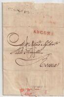 ITALIA 1837 PREFILATELICA DA ANCONA,ANNULLO 21 AGOSTO PER ROMA