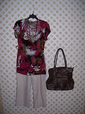 WOMENS CLOTHING OUTFIT LOT MAURICES TOP SZ L BRIGGS NEW YORK CAPRIS SZ 12 PURSE