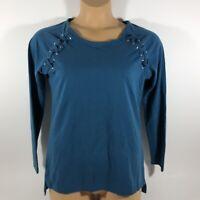 Ariat Real Tied Top Long Sleeve Shirt Blue Women's Medium M