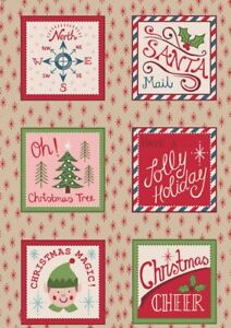Santa Squares on Parchment Christmas Blocks by Lewis & Irene 100% Cotton Fabric