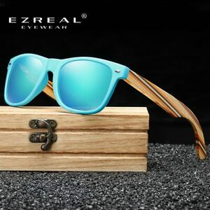 Retro Vintage Polarized Sunglasses Wooden Frame Mens Rimmed Mirrored Casual New