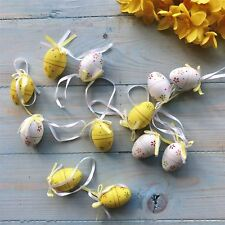 Set of 12 Yellow & White Floral Mini Easter Egg Decorations By Gisela Graham
