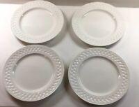 """4 Martha Stewart Dinner Plates  Cupboard White Basket Weave Edge. 11"""""""