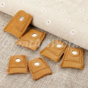1Pair Handmade Patchwork Faux Leather Thimble Finger Sets W Metal Tip DIY Sewing