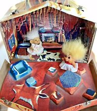 Vintage Troll House Cave Carry Case 1960s, 2 Girl Trolls D.A.M. Scandia House
