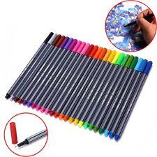 24 Color Set Neon Fineliner sortierte Farben Bunt Stifte Permanent Marker 0.4MM