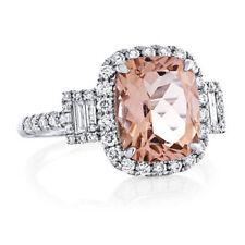 14K solid white gold cushion shape 10x8 morganite Ring,diamond unique ring