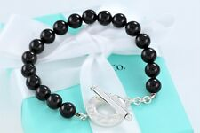 "Tiffany & Co Silver Black Onyx Bead Bracelet Strand Toggle Clasp 8"" Bracelet"