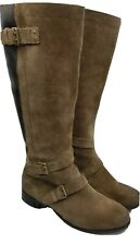 Womens Ugg Tall Brown Taupe Suede Leather Boots Size 9 1001876 EUC