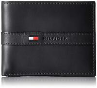 New Tommy Hilfiger Men's Ranger Leather Passcase Bifold Wallet Black
