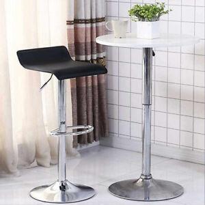 2X Bar Stools PU Leather Swivel Gas Lift Chair Kitchen Breakfast Pub Black