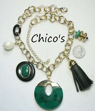 Green Swirl Pendant + Dangles Gt Huge Signed Chico'S Bold Chunky Necklace, Large