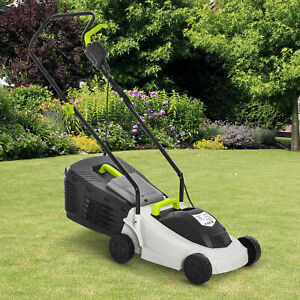 Outsunny Electric Rotary Lawn Mower w/ 25L Grass Box, 3-Level Height Adjust