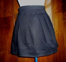 women's skirt black drill cotton tulip shape pleats small  size 8 UK 36 EU