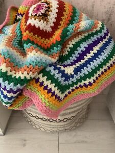 Beautiful Hand Crochet Granny Blanket Vintage Retro Shabby Chic Style