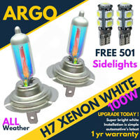 H7 100w Super White Xenon (499) 12v Dipped Headlight Bulbs + 501 Led Side lights