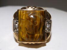 Carved Tiger's Eye Cameo Men Ring 10K gold Art Deco Greek Warriors Gods Diamonds